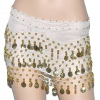 Golden Coins Pendant Belly Dance Hip Skirt Dress - White + Golden (153 x 25cm)