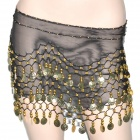 Golden Coins Pendant Belly Dance Hip Skirt Dress - Black + Golden (153 x 25cm)