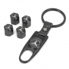 Benz Car Tire Valve Cap Cover with Keychain - Black (4 Piece Pack)