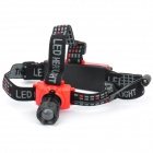 NEW-6551 160-Lumen 3-Mode White Zoom LED Headlamp - Black + Red (3 x AAA / 1 x 18650)