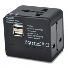 Universal Travel Power Plug Adapter with 2 USB Ports - Black (US/EU/AU/UK)