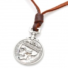 Fashion Cool Punk Style Pendant Necklace - Silver Grey + Brown (Ghost King Coin Theme)
