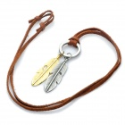 Fashion Cool Punk Style Pendant Necklace - Silver Grey + Golden + Brown (Dual-feather Theme)