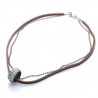 Fashion Cool Punk Style Pendant Necklace - Silver Grey + Brown (Rome Ring Dual Chain Theme)