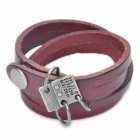 Fashion Cool Punk Style Cowhide Bracelet - Carmine (1978 Dual-ring Theme)