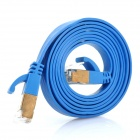 High Speed Power Sync Cat6a 32AWG RJ45 to RJ45 Flat Network Cable - Blue (1M-Cable Length)