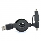 Power-Sync Retractable USB 2.0 auf Mini 5 Pin / Micro-USB-Daten-Ladekabel + 8-Pin Mini-Adapter-Set