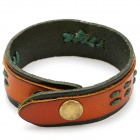 Fashion Cool Punk Style Cowhide Bracelet - Green + Brown (Dual Layer Stringing Theme)
