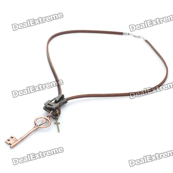 Fashion Cool Punk Style Pendant Necklace - Red Copper + Brown (Key + Cross + Zipper Theme)