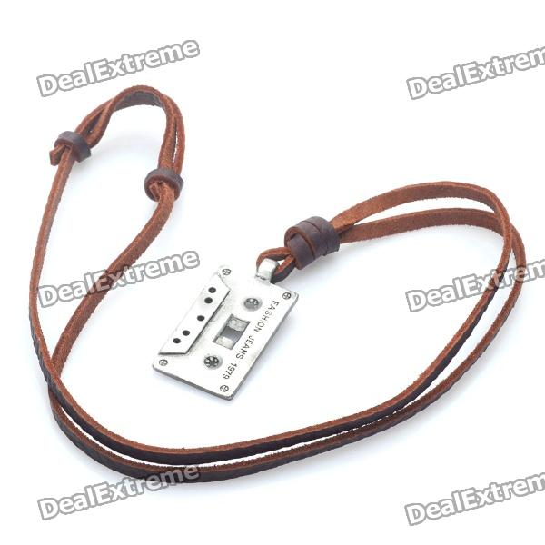 Fashion Cool Punk Style Pendant Necklace - Silver Grey + Brown (Retro Tape Theme)