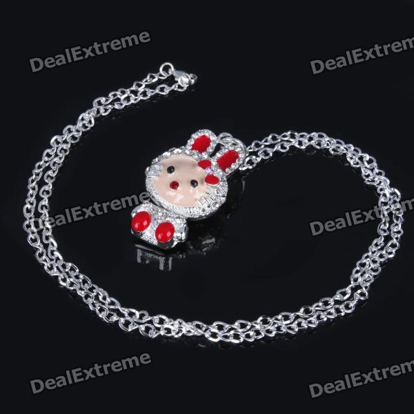 Elegant Crystal Zircon Pendant Necklace - Silver White + Red cute cartoon human figure pendant necklace white red