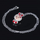 Elegant Crystal Zircon Pendant Necklace - Silver White + Red