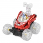 40MHz 4-CH R/C Remote Control Flip Stunt Car Toy with Colorful Light Effects - Red