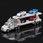 Double Decker Truck Trailer Car Carrier Transporter Model Toy with 4 Cars - White