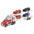 Double Decker Truck Trailer Car Carrier Transporter Model Toy with 4 Cars - Red + Silver