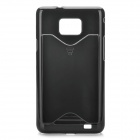 Stylish Protective Plastic Back Case with Card Holder for Samsung Galaxy S2 i9100 - Black