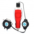 Car Cigarette Powered Charger w/ Charging Adapter Cable for Cellphones - Red + Silver