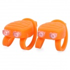 Lobster Shaped 3-Mode 2-LED Red & Blue Tie-On Bike Light Keychain - Orange (Pair / 2 x CR2032)