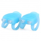 Lobster Shaped 3-Mode 2-LED Red & Blue Tie-On Bike Light Keychain - Light Blue (Pair / 2 x CR2032)