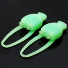Lobster Shaped 3-Mode 2-LED Red & Blue Tie-On Bike Light Keychain - Green (Pair / 2 x CR2032)