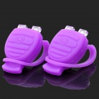 Lobster Shaped 3-Mode 2-LED Red & Blue Tie-On Bike Safety Light - Purple (Pair / 2 x CR2032)