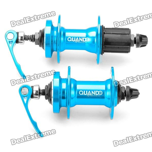 QUANDO Sealed Bearing Hubs w/ Quick Release Skewers for Mountain Bike - Blue (KT-MD4F / MD7R) mtb mountain road dh fr bmx fixed gear cycling bicycle bike pedal 9 16 in titanium axle alloy body 3 sealed bearing 100 95 17mm