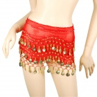 Golden Coins Pendants Belly Dance Hip Skirt Scarf - Red