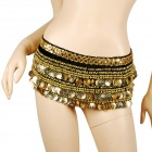 Golden Coins Pendants Belly Dance Hip Skirt Scarf - Black