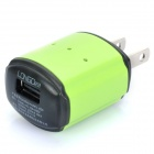 LONGDEA USB AC Charger Power Adapter for Cell Phone + More - Green (AC 100~240V / 2-Flat-Pin Plug)