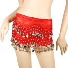 Silver Coins Pendants Belly Dance Hip Skirt Scarf - Red