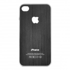 Flashing LED Logo Protective Aluminum Back Case for iPhone 4 / 4S - Black (1 x CR2016)