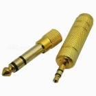 Gold Plated 6.5mm Male to 3.5mm Female + 3.5mm Male to 6.5mm Female Adapter Connectors