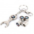 Buick Logo Zinc Alloy Car Tire Valve Caps w/ Wrench Keychain - Silver (4-Pack)