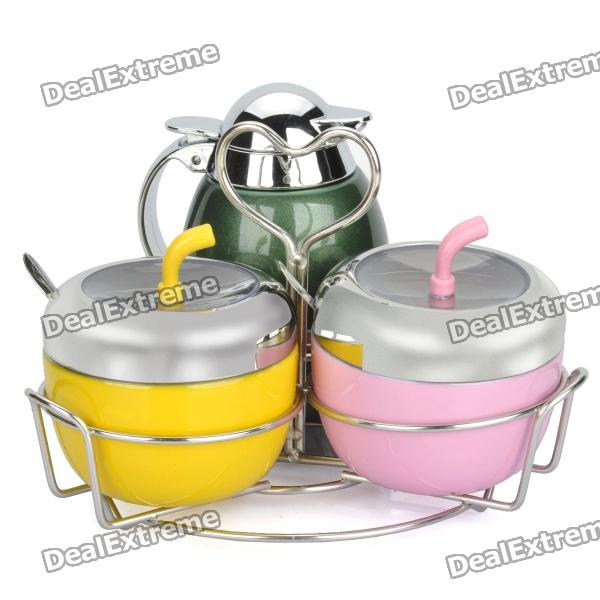Stainless Steel Seasoning Cans Set with Spoons & Holder eos крем для бритья lavender jasmine объем 207 мл