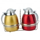 Stainless Steel Olive Oil Bottles Set with Holder (Pair / 110ml)