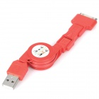 Retractable USB Male to 30pin / Mini USB / Micro USB Male Data / Charging Cable - Red
