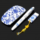 Elegant Blue and White Porcelain 4GB USB Flash Drive + Black Ink Ball Pen + Wireless Mouse Set