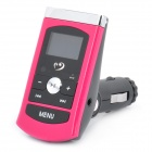 "1.0"" LCD Car MP3 Player FM Transmitter w/ Remote Controller/USB/TF - Carmine + Black (12V~24V)"