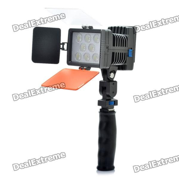22W 6000K 1540LM 8-LED White Light Video Lamp with Filters for Camera/Camcorder 15w 6000k 1050lux 6 led white light video lamp with filters for camera camcorder black
