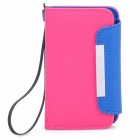 Protective PU Leather Flip-Open Case with Strap for Samsung i9220 - Rose Red