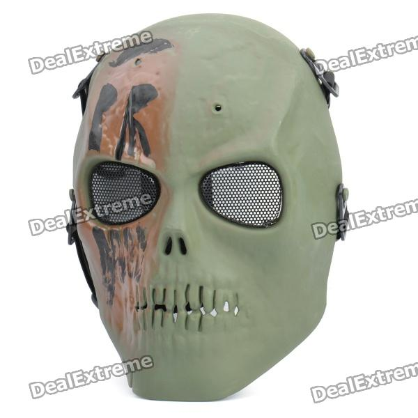 Skull Head Outdoor Sports Mask with Elastic Strap - Random Color airsoft adults cs field game skeleton warrior skull paintball mask