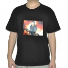 Sound Activated Michael Jackson Pattern EL Visualizer Cotton T-shirt - Black (2 x AAA / Size-XXL)