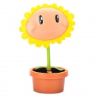 Cute Sunflower Style USB Powered Flexible 11.9W White 17-LED Desk Lamp - Jacinth + Yellow + Green