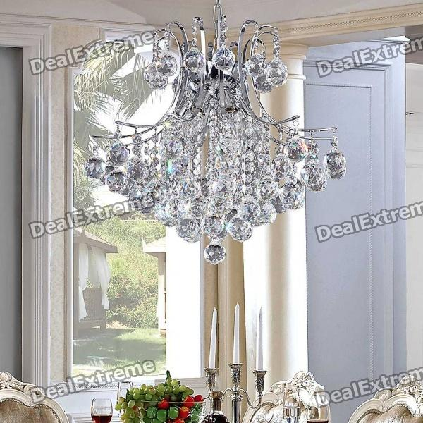 Elegant 6-light Chrome Crystal Chandelier