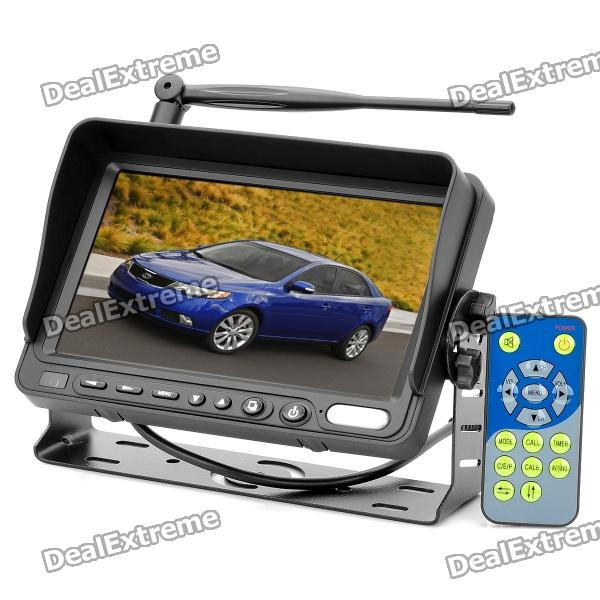 7 LCD Car Wireless Rearview Camera Monitor w/ Dual IR Night Vision Waterproof CCD Cameras - Black 7 inch video doorbell tft lcd hd screen wired video doorphone for villa one monitor with one metal outdoor unit night vision