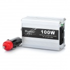 JD46 100W DC 12V to AC 220V Car Cigarette Lighter Power Inverter w/ Adapter - Silver