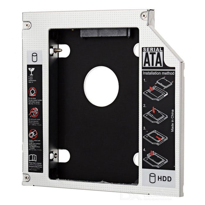 2.5 SATA to SATA HDD / SSD Caddy for Optical Drive - Silver + BlackOther Accessories<br>Model:Form  ColorWhiteMaterial:Packing List<br>