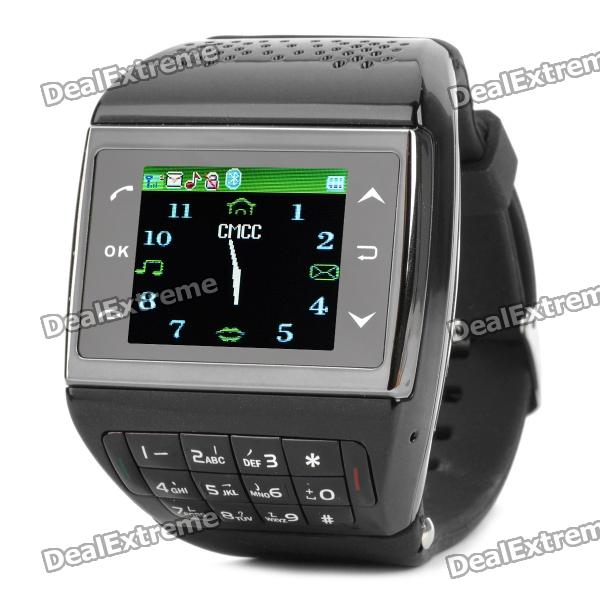 ET-1 GSM Wrist Watch Phone w/1.5 Resistive Screen, Quad-band, Bluetooth V2.0 and FM - Black s18 gsm watch phone w 1 5 screen quad band bluetooth and fm black