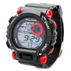 Sports Diving Wrist Watch w/ EL Backlit / Week / Stopwatch / Alarm Clock - Black + Red (1 x CR2025)