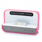 Stylish 1500mAh Mobile Power Charging Dock Station for iPhone/iPad/iPod - Pink + White